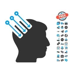 Neuro interface icon with free bonus vector