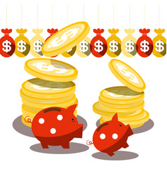 Piggy bank and dollar coins with money bags vector