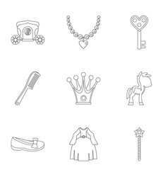 Princess fairy tail icon set outline style vector