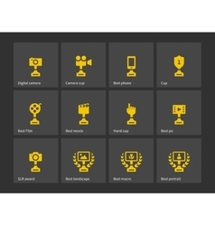 Prizes and trophy icons vector