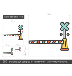 Railroad barrier line icon vector