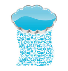 Realistic 3d shape cloud storage with rain pattern vector