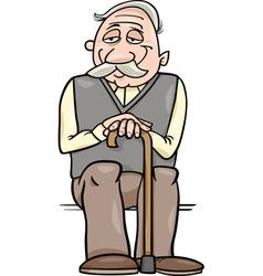 senior with cane cartoon vector image vector image