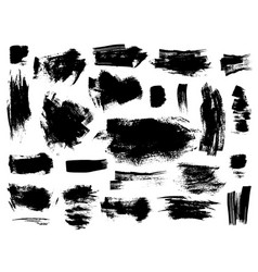 set of black brushstrokes on white vector image