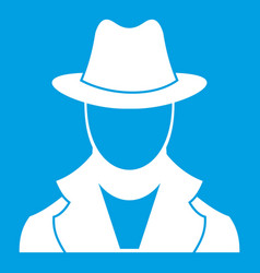 Spy icon white vector
