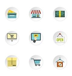 Supermarket buying icons set flat style vector