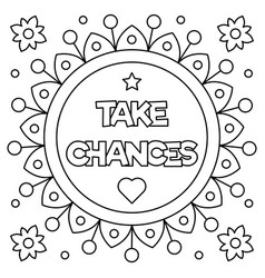 Take chances coloring page vector