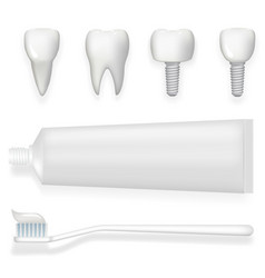 tooth dental implant tube of toothpaste and vector image