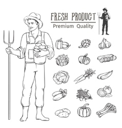 Vegetables and farmer fo vector