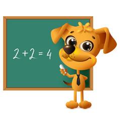 yellow dog teacher stands at blackboard math vector image vector image