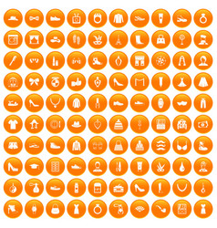 100 vogue icons set orange vector