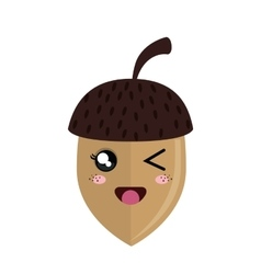 Cute nut kawaii style vector