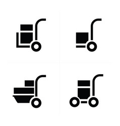 Shopping cart and man courier icon vector