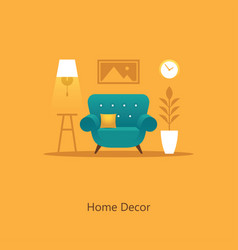 Living room with armchair in flat sty vector