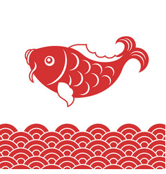 Carp fish and wave for chinese new year vector