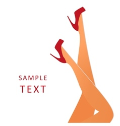 Beautiful female legs wearing red high-heeled vector