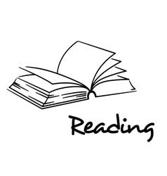 Reading icon with an open book vector