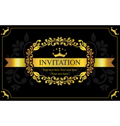 Invitation card black and gold style vector