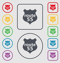 Route 55 highway icon sign symbols on the round vector