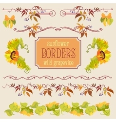 Border elements set with sunflower and grape vector