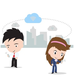 Business man and woman working on cloud computing vector