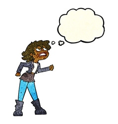 Cartoon angry biker girl with thought bubble vector