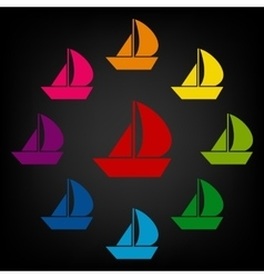 Sail boat icon set vector