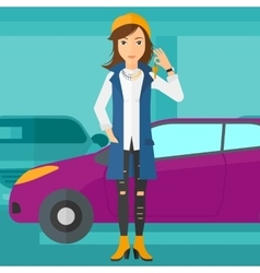 Woman holding keys from new car vector