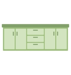 Kitchen cabinet with drawers vector image