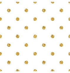 Polka dot small gold 1 white vector image