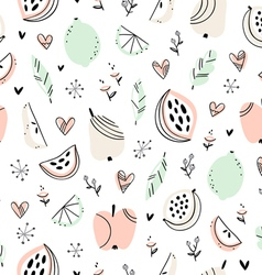Stylized fruits pattern vector image