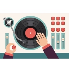 Turntable with dj hands modern music flat vector
