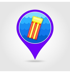 Floating mattress on beach pin map icon Summer vector image