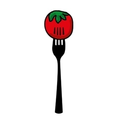 Fork with tomato isolated icon design vector