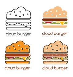 Emblems set with concept of cloud burger vector