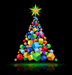 abstract christmas tree cubic design on black vector image