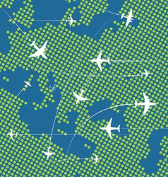 Airplanes flying over the abstract map of europe vector image vector image
