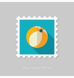 Beach ball flat stamp summer vacation vector
