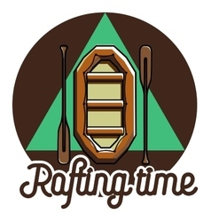 Color vintage rafting emblem vector