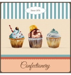 Confectionery advertisement with watercolor vector image