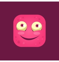 Content pink monster emoji icon vector