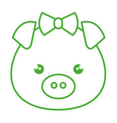 Cute and tender female piggy kawaii style vector