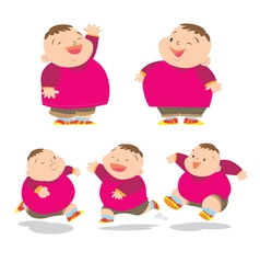 Cute fat boy charater many action vector