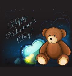 cute teddy bear and hearts vector image