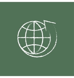 Earth and arrow around icon drawn in chalk vector image vector image