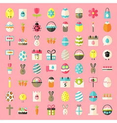 Easter flat style icons vector image vector image