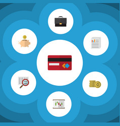 Flat icon gain set of money box diagram payment vector