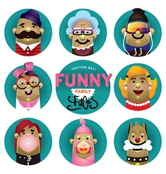 Funny family icons set vector image vector image