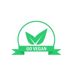 Go vegan label green food icon sticker vector
