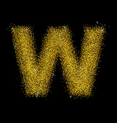 gold dust font type letter w vector image